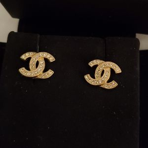 New Authentic Chanel CC crystal earrings